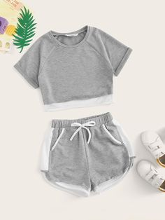 May 2020 - Girls Raglan Sleeve Fishnet Hem Top & Drawstring Waist Shorts Set – Kidenhouse Cute Lazy Outfits, Sporty Outfits, Swag Outfits, Stylish Outfits, Batman Outfits, Formal Outfits, Rock Outfits, Pajama Outfits, Crop Top Outfits