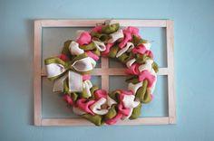 $30.00 Pink, Green and White Burlap Wreath-Spring Wreath- Easter Wreath- Front Door Wreath- Year Round Wreath- Everyday Wreath