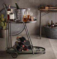 Very cool industrial bar cart