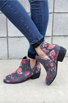 6a8d0a9fdf0 Floral Rosette Booties Leather Booties