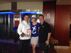 Our hosts with Executive Chef Carlos Fernandes holding their book #JustAddWater onboard Celebrity Silhouette. #cruise #travel #CelebrityCruises
