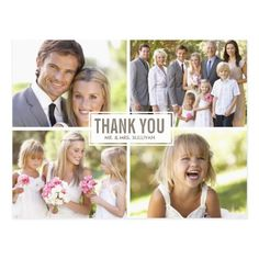 Wedding Photo Cards Thank You Modern Photo Collage Wedding Thank You Postcard Card Table Wedding, Wedding Card Design, Wedding Cards, Wedding Thank You Postcards, Wedding Postcard, Photo Thank You Cards, Thank You Photos, Photo Cards, Volunteer Appreciation Gifts