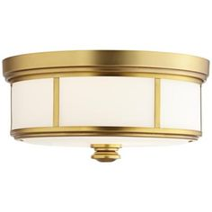 """Harbour Point 13 1/2"""" Wide Liberty Gold Ceiling Light"""