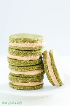 Pistachio cookies with cream filling - Raw, gluten free and vegan. This are perfect for St. Patrick's day. A healthier take on a cookie. You can also freeze these and have on the go. A boost of energy for sure.