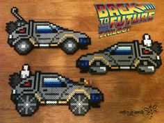 DeLorean Time Machine from Back to the Future Trilogy ! Perler Beads Creation by: RockerDragonfly Perler Bead Templates, Perler Patterns, Pony Bead Patterns, Beading Patterns, Perler Coasters, Hamma Beads Ideas, Arte 8 Bits, Modele Pixel Art, Pokemon Perler Beads
