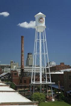 DURHAM NC:  The restored water tank, chimney, and cigarette  manufacturing plant.