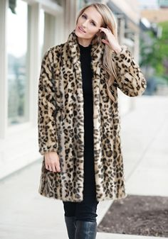 Leopard Signature Knee Length Faux Fur Coat, I just ordered this can't wait to get it.