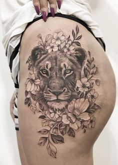 50 Eye-Catching Lion Tattoos That'll Make You Want To Get Inked - awesome lioness tattoo ideas for girls © tattoo artist Samuel Correia Inktrace ⚜ - Animal Tattoos For Women, Hip Tattoos Women, Girl Back Tattoos, Sexy Tattoos, Cute Tattoos, Sleeve Tattoos, Amazing Tattoos, Thigh Tattoos For Girls, Back Tattoos For Women