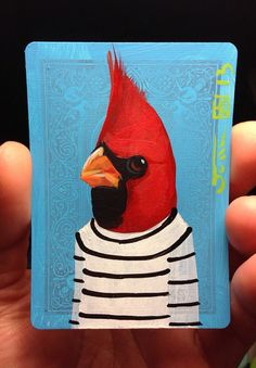 Red Cardinal portrait on a playing cards. Original acrylic painting. 2013