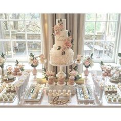 Dessert bar wedding - One of the dreamiest places we have the pleasure of working in is couturecuisine! We created this table for an incredibly sweet couple on the long weekend, and also got to work with one o Bridal Shower Desserts, Dessert Bar Wedding, Candy Bar Wedding, Wedding Sweets, Bridal Shower Decorations, Wedding Table, Wedding Decorations, Elegant Dessert Table, Wedding Ideas