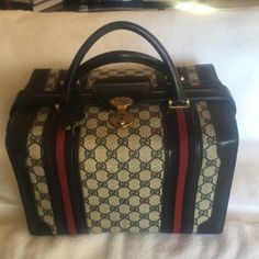 0d53a30efcc070 Gucci Train Cosmetic ** Hold For Mei-ling** Navy Blue Leather & Gg Coated  Canvas Weekend/Travel Bag 86% off retail