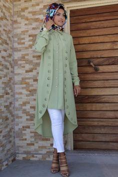 Nurgül Çakır Fıstık Yeşili Verde Tunik
