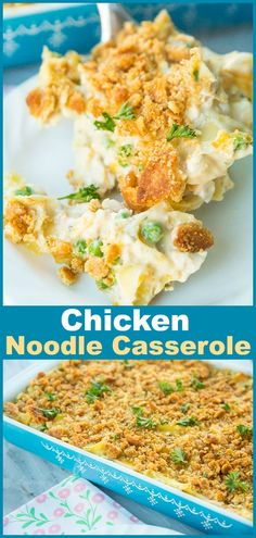 There is nothing like a classicChicken and Egg Noodle Casserole to make you feel like you're at your Mom's or Grandma's dinner table again. This buttery Ritz topped chicken and egg noodle casserole is creamy, delicious and entirely soul-satisfying! #casserole #chicken #noodles #chickensoup #eggnoodles #recipe #dinner #supper #familyfood