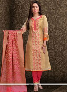 Be the sunshine of everybody's eyes dressed in this beige chanderi churidar designer suit. The ethnic embroidered work with a dress adds a sign of elegance statement with a look. Comes with matching. Chudidhar Designs, Churidhar Neck Designs, Neck Designs For Suits, Dress Neck Designs, Designs For Dresses, Blouse Designs, Salwar Suit Neck Designs, Kurta Neck Design, Salwar Designs