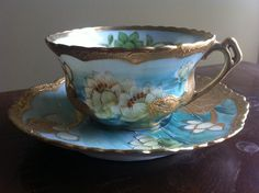 Antique Nippon exqusite Moriage hand painted water lilies cup saucer lavish gilt | eBay