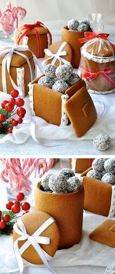 Great idea for homemade edible Tea party . Gingerbread Boxes and Mason Jars - completely edible gifts! The jars are made by wrapping dough around a can. No cookie cutters, mixers or any special equipment required. Edible Christmas Gifts, Edible Gifts, Christmas Sweets, Christmas Cooking, Noel Christmas, Christmas Goodies, Christmas Decorations, Xmas, Christmas Cookies Gift