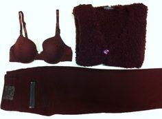 Katoenen bi-stretch broek van 'Gerke My Pants' in het warme kleur wijn-rood. Bouclé vest van Apanage in een menging van wol + mohair. Lingerie-set Passionata uit de serie 'Casual Sexy' in porto-rood.