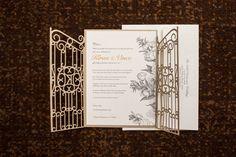 Elegant Invitation with Laser Cut Gate Detail | Photography: Photography by Edmonson Weddings. Read More:  http://www.insideweddings.com/weddings/catholic-hindu-ceremonies-reception-with-enchanted-forest-theme/833/