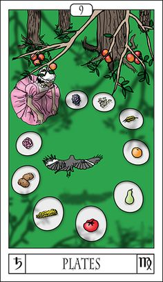 The astrological aspect of this card is Saturn in Virgo. The limits and boundaries of Saturn are expressed through the neat, methodical, almost obsessive sign of Virgo. The types of food have been separated, allowing her to subdivide her experience discreetly.