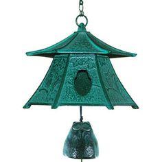 Castle Tower Lantern Furin Wind Chimes w//Bell Iwachu Nambu Cast Iron //Made Japan