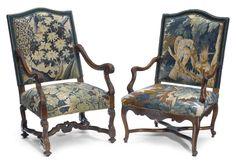 Two Régence style walnut armchairs  height 42 1/2in; width 27 1/2in; depth 25in