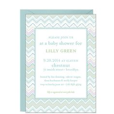 Tres chic, this soft stylish zig zag quilting is the perfect baby shower invitation for the fashionable mother-to-be! Printed on white 130 lb cover paper with a tactile vellum finish. Beautiful Baby Shower, Quilt Baby, Paper Source, Invitation Paper, Blue Quilts, Baby Shower Invitations, Rsvp, Frame, Party