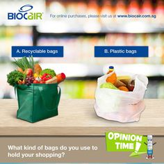 We all know recyclable bags cause less harm to the environment than plastic bags, but how often do you make the right choice? Let's remember to choose the environmentally friendly option!   BioCair products are also proven free from triclosan or other subtances that harms the earth. Choose wisely, choose BioCair!