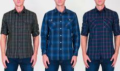 Men s Roll-Sleeve Plaid Button-Down Shirt   Groupon Button Downs, Button  Down 7c5e56f3452