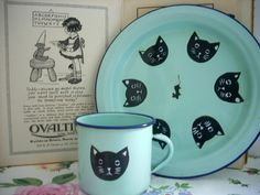 Vintage Enamel Cat Mouse Plate and Mug