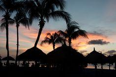 Dinner on the beach at sunset in Aruba