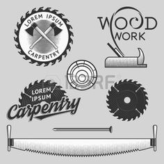 Vintage wood works and carpentry logos, emblems, templates, labels, symbols and design elements for your design. Stock vector. photo