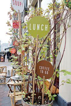 nice signs on coffee shop terrace