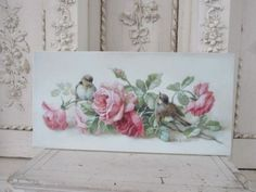 GORGEOUS Christie REPASY CANVAS PRINT Breathtaking Pink Roses & Birds