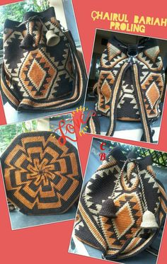 This Pin was discovered by Azr Tapestry Bag, Tapestry Crochet, Filet Crochet, Knit Crochet, Mochila Crochet, Crochet Accessories, Cross Stitch Embroidery, Crochet Projects, Purses And Bags
