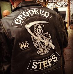 Crooked Steps Vest. This club has not come up on my radar of influence, but along side the Sons of Anarchy vests, you certainly see some influence. Hard to tell who might have informed who.