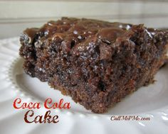 This decadent cake recipe sounds so yummy.  ~ ~ ~  Coca-Cola Cake - Rich, moist chocolate cake #callmepmc #chocolate #cake
