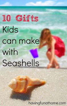 Seashell crafts that make beautiful gifts.  Lots of diy ideas for kids here: seashell candles, necklaces, Christmas ornaments