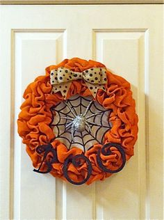 Halloween Burlap Wreath by PrettySouthernDoors