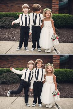 Navy Suspenders, Grey pants, Navy Converse chucks, add navy bow tie: ring bearers and flower girl Wedding With Kids, Sister Wedding, Our Wedding Day, Dream Wedding, Flower Girl Shirts, Flower Girl Dresses, Flower Girls, Bridesmaid Flowers, Bridesmaid Dresses