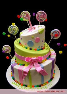 Cake with lollipops - I sure hope Bentleigh likes Lollipop cakes.  I am starting to see a trend here :)