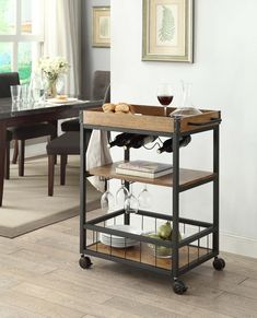 Austin Kitchen Cart - Linon and industrial in style and design, the Austin Kitchen Cart is perfect for adding storage to small dining rooms and kitchens. Crafted from metal, the base of the table features a black finish, while the wood Kitchen Decor, Kitchen Furniture, Bar Furniture, Linon Home Decor, Kitchen Cart, Austin Kitchen, Mobile Kitchen Cart, Bar Cart Decor, Dining Room Small