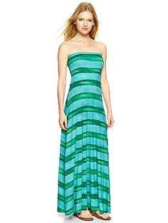 Stripe 4-in-1 dress - A dress with a twist. Wear it 4 ways: Strapless maxi, strapless midi, strapless mini, or foldover maxi skirt.