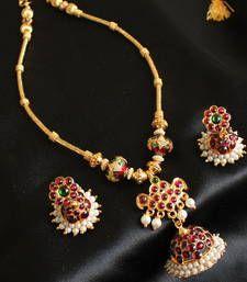 Buy STUNNING UNIQUE TEMPLE JEWEL JHUMKKA PENDANT TEMPLE NECKLACE SET necklace-set online