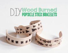 DIY Wood Burned Popsicle Stick Bracelets