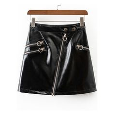 Black Oblique Zipper Faux Leather Skirt (€18) ❤ liked on Polyvore featuring skirts, imitation leather skirt, vegan leather skirt, leather look skirt, faux leather skirt and zip skirt