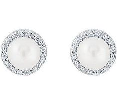 Sterling Silver Round Gemstone or Cultured Pearl Earrings
