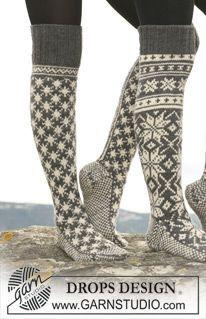 """Kuviolliset DROPS sukat """"Karisma""""-langasta. Nämä voidaan neuloa myös """"Merino Extrafine"""" -langasta. ~ DROPS Design"""