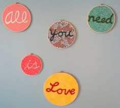 Beatles Embroidery Hoop Art All you need is Love Handmade with Felt & Fabric…