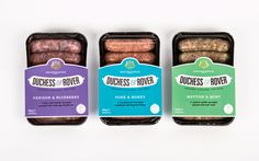 Product development and packaging by Robot Food for gourmet sausage range for dogs Duchess & Rover. Food Packaging, Brand Packaging, Simple Packaging, Packaging Ideas, Leeds, Gourmet Recipes, Dog Food Recipes, Smoothie Bar, Mint