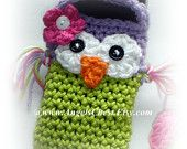 PDF Pattern Cute Crochet OWL Cell Phone Cozy and Nintendo DSi / 3DS / DS Lite Case Cozy Angels Boutique Design - No. 18. $6,99, via Etsy.